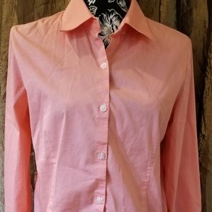 George stretch coral long sleeved blouse Size M